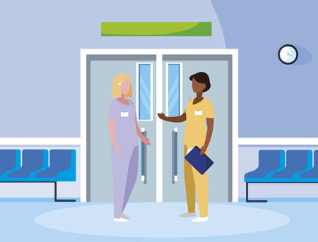 interracial female medicine workers in elevator door vector illustration design Illustration