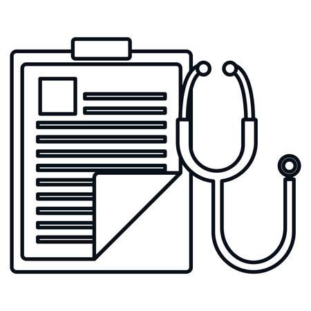 lista di controllo di ordine medico con disegno di illustrazione vettoriale di stetoscopio Vettoriali