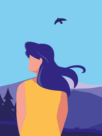 young woman in mountains landscape scene vector illustration design