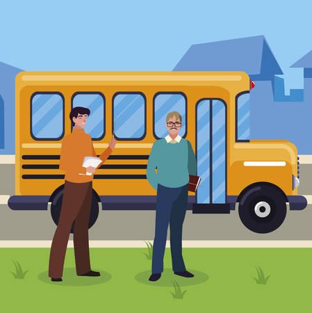 teachers couple in bus stop vector illustration design