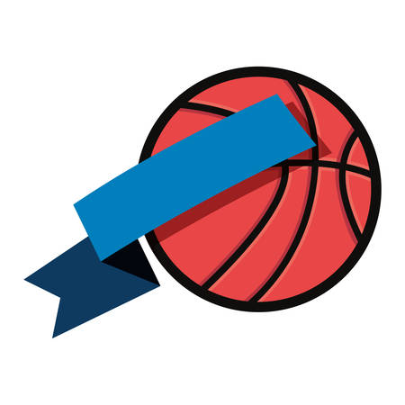 basketball sport ball ribbon white background vector illustration