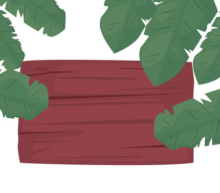 summer time holiday wooden board palm leaves vector illustration Illustration