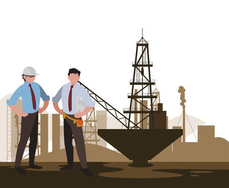 oil industry workers avatars characters vector illustration design