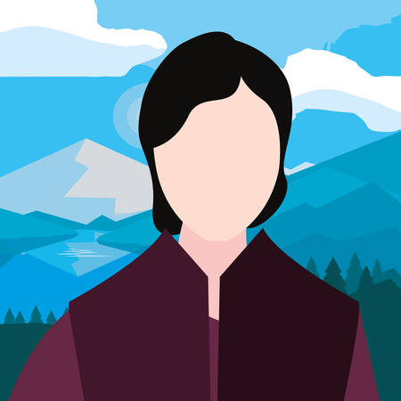 man avatar scene nature landscape vector illustration