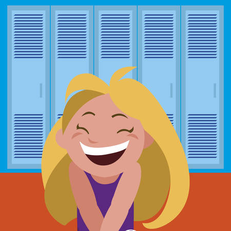 happy little schoolgirl in school corridor vector illustration design