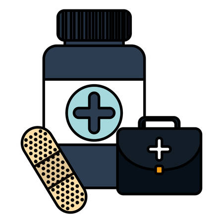 bottle drugs with kit and cure band vector illustration design