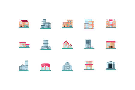 real estates property icon set on white background vector illustration design
