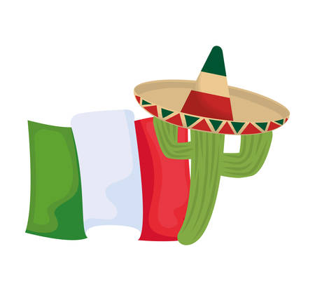 cactus with hat and flag mexican isolated icon vector illustration design