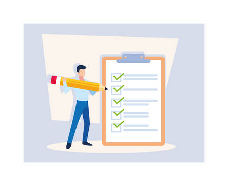 young man with clipboard and pencil vector illustration design