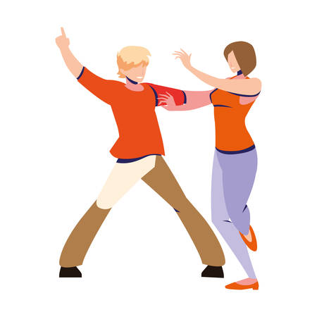 couple of people in pose of dancing on white background vector illustration design
