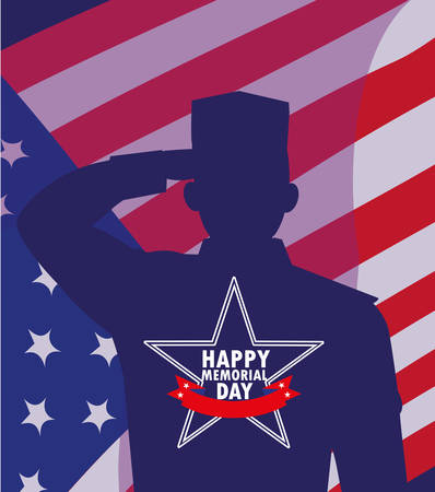 happy memorial day card with flag usa and silhouette of military vector illustration design