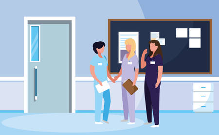 group of doctors females in hospital vector illustration design