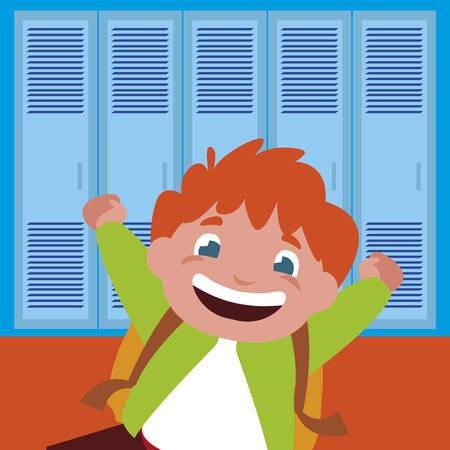 little schoolboy with schoolbag in school corridor vector illustration design Ilustração Vetorial