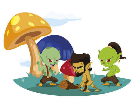 ugly trolls with caveman gnome in the camp magic characters vector illustration Illustration
