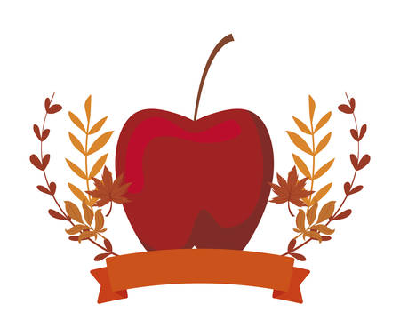Apple and autumn leaves design, Fruit healthy organic food sweet and nature theme Vector illustration
