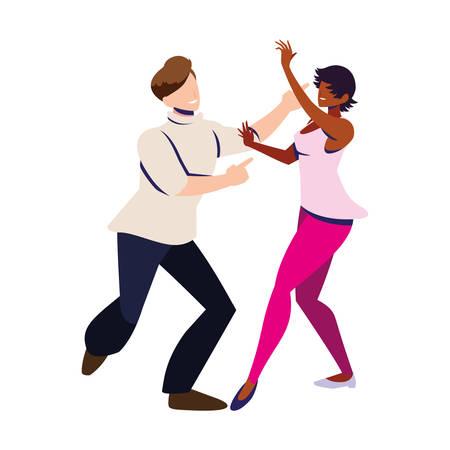 para ludzi w pozie tańczy na białym tle projekt ilustracji wektorowych