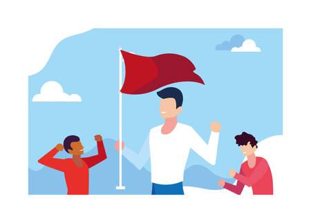 young men holding a red flag vector illustration design