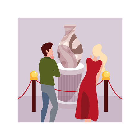 couple of people in contemporary art gallery, exhibition visitors viewing modern abstract paintings vector illustration design
