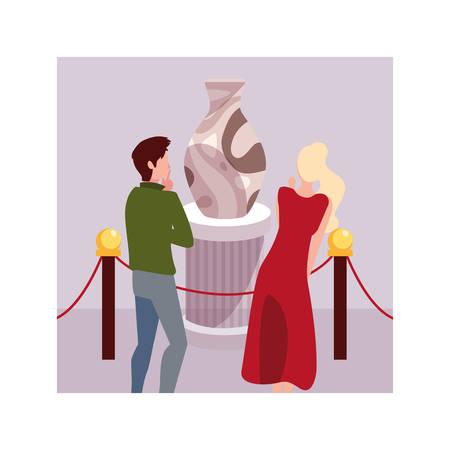 Pareja de personas en la galería de arte contemporáneo, visitantes de la exposición que ven pinturas abstractas modernas, diseño de ilustraciones vectoriales