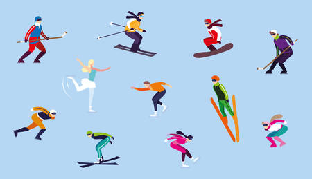 set of people practicing extreme winter sport vector illustration design