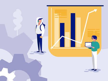 Los empresarios y el diseño infográfico, la ocupación del trabajo corporativo de la gestión empresarial del hombre y el tema del trabajador Ilustración vectorial