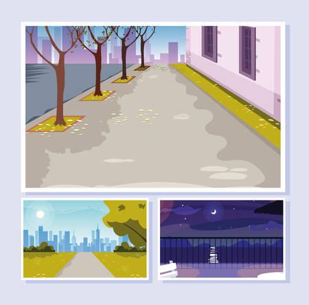 urban street scenes set of icons vector illustration design