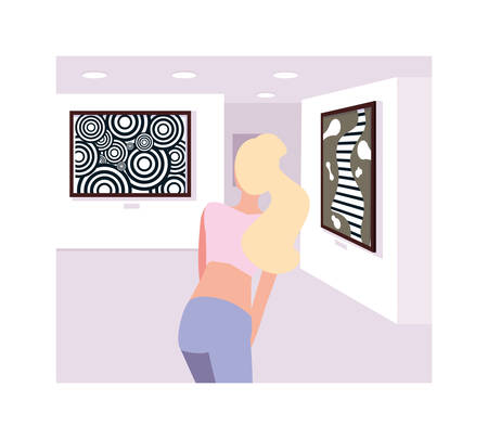 woman in contemporary art gallery, exhibition visitors viewing modern abstract paintings Vectores