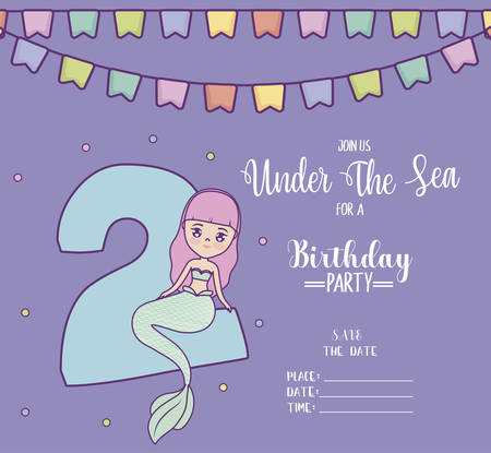 card with cute mermaid and number two vector illustration design