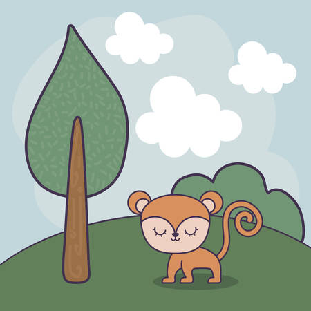 cute monkey in landscape scene  illustration design