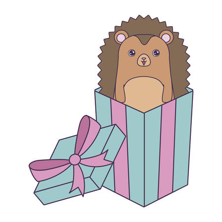 cute porcupine animal in gift box vector illustration design