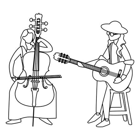 couple of musicians characters illustration design