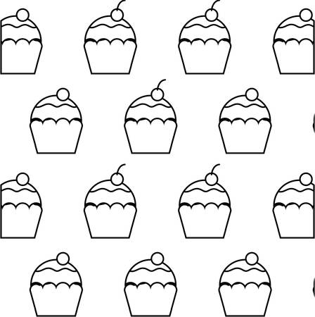 pattern of delicious sweet cupcakes pastry vector illustration design