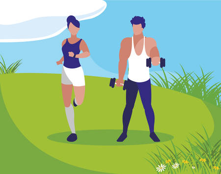 athletic man weight lifting and woman running in the camp illustration