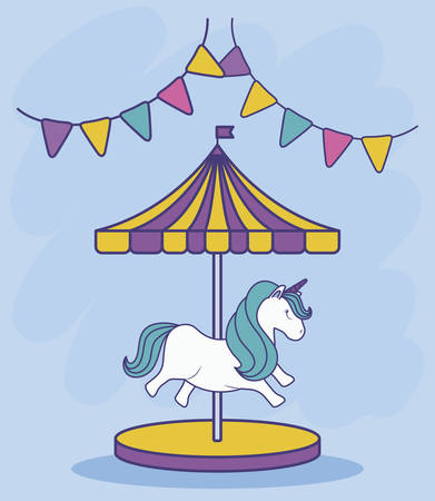 carousel with unicorn and garlands hanging vector illustration design
