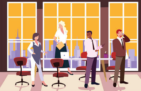 group of people business in the work office, coordinated work in friendly team in the office illustration design