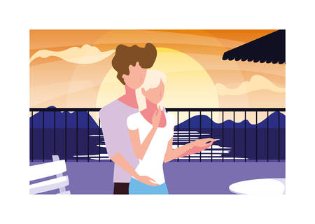 couple of people in love standing overlooking the sea vector illustration design