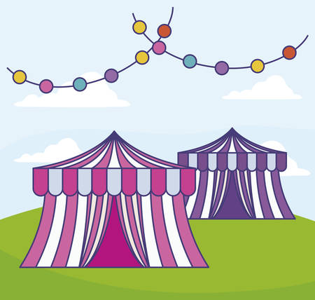 circus tents with garlands in grass vector illustration design