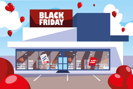 black friday promotional sale shopping banner with products and discount vector illustration design
