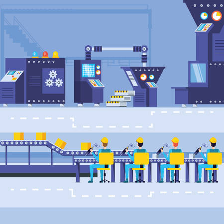 industrial workers in technified factory vector illustration design