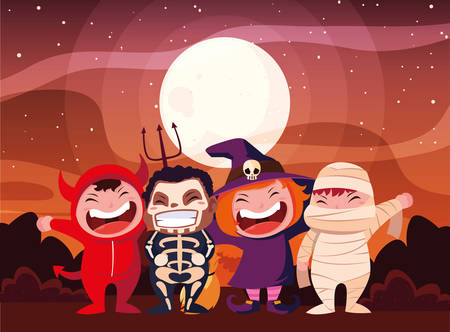 costumed children design, Halloween holiday horror scary celebration autumn dark and party theme Vector illustration