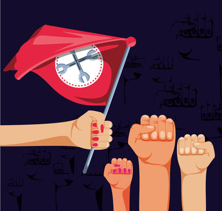 labour day celebration with hands and flag vector illustration design