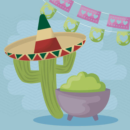 viva mexico celebration with cactus and guacamole vector illustration design