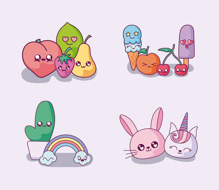 Cartoons icon set design, Kawaii expression cute character funny and emoticon theme Vector illustration