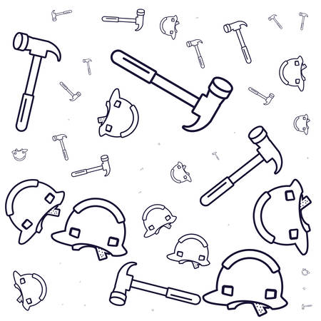 pattern of helmets construction with hammers vector illustration design