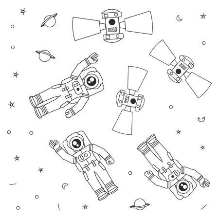 pattern of astronauts suits with satellites and stars vector illustration design