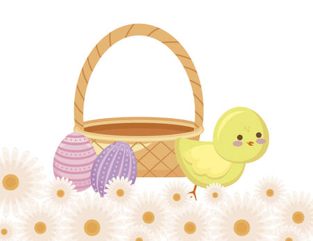 cute chicken with basket wicker with eggs easter vector illustration design Illusztráció