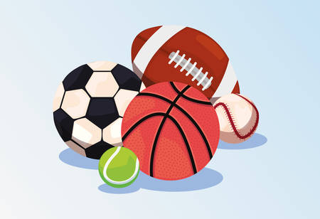 basketball tennis soccer baseball sport balls equipment vector illustration Çizim