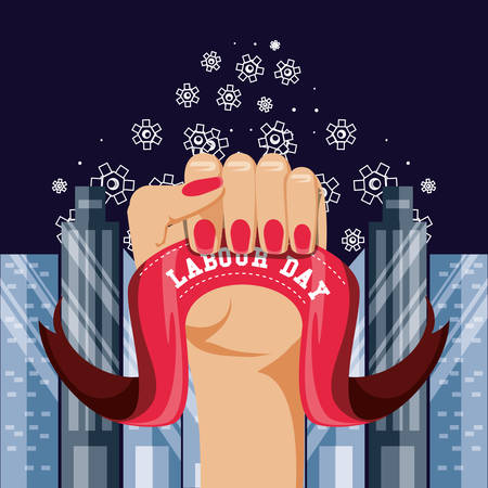 labour day celebration with hand fist and cityscape vector illustration design