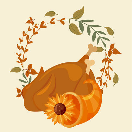 set of icons thanksgiving with autumn leaves of background vector illustration design Vectores