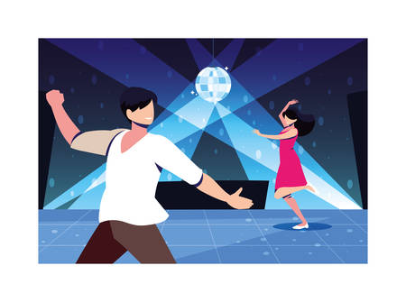couple of people dancing in nightclub, party, dancing club, music and nightlife vector illustration design